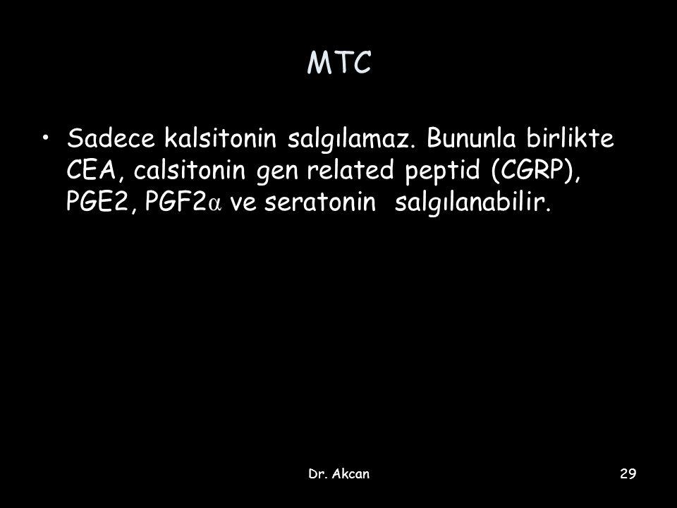 Dr. Akcan29 MTC Sadece kalsitonin salgılamaz. Bununla birlikte CEA, calsitonin gen related peptid (CGRP), PGE2, PGF2 α ve seratonin salgılanabilir.