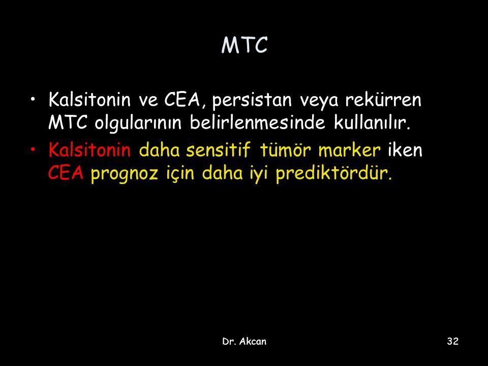 Dr. Akcan32 MTC Kalsitonin ve CEA, persistan veya rekürren MTC olgularının belirlenmesinde kullanılır. Kalsitonin daha sensitif tümör marker iken CEA