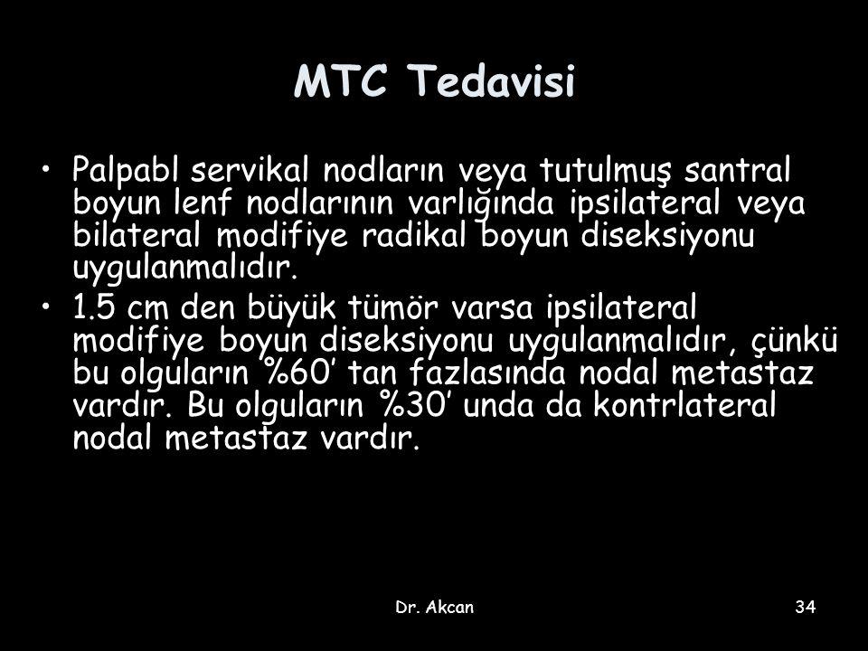 Dr. Akcan34 MTC Tedavisi Palpabl servikal nodların veya tutulmuş santral boyun lenf nodlarının varlığında ipsilateral veya bilateral modifiye radikal