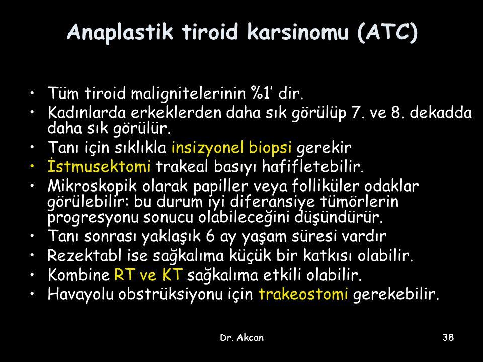 Dr. Akcan38 Anaplastik tiroid karsinomu (ATC) Tüm tiroid malignitelerinin %1' dir. Kadınlarda erkeklerden daha sık görülüp 7. ve 8. dekadda daha sık g