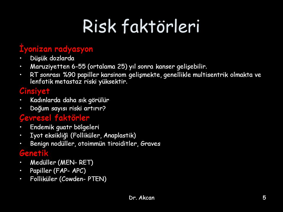 Dr. Akcan5 Risk faktörleri İyonizan radyasyon Düşük dozlarda Maruziyetten 6-55 (ortalama 25) yıl sonra kanser gelişebilir. RT sonrası %90 papiller kar