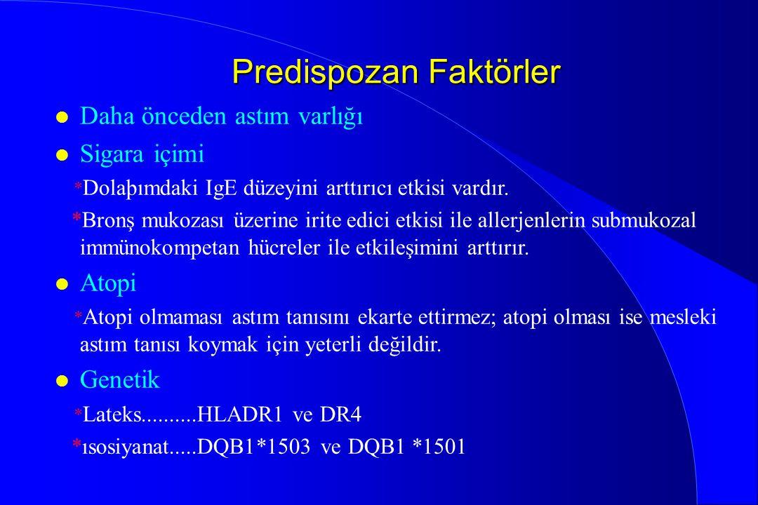 Predispozan Faktörler l Daha önceden astım varlığı l Sigara içimi * Dolaþımdaki IgE düzeyini arttırıcı etkisi vardır. *Bronş mukozası üzerine irite ed