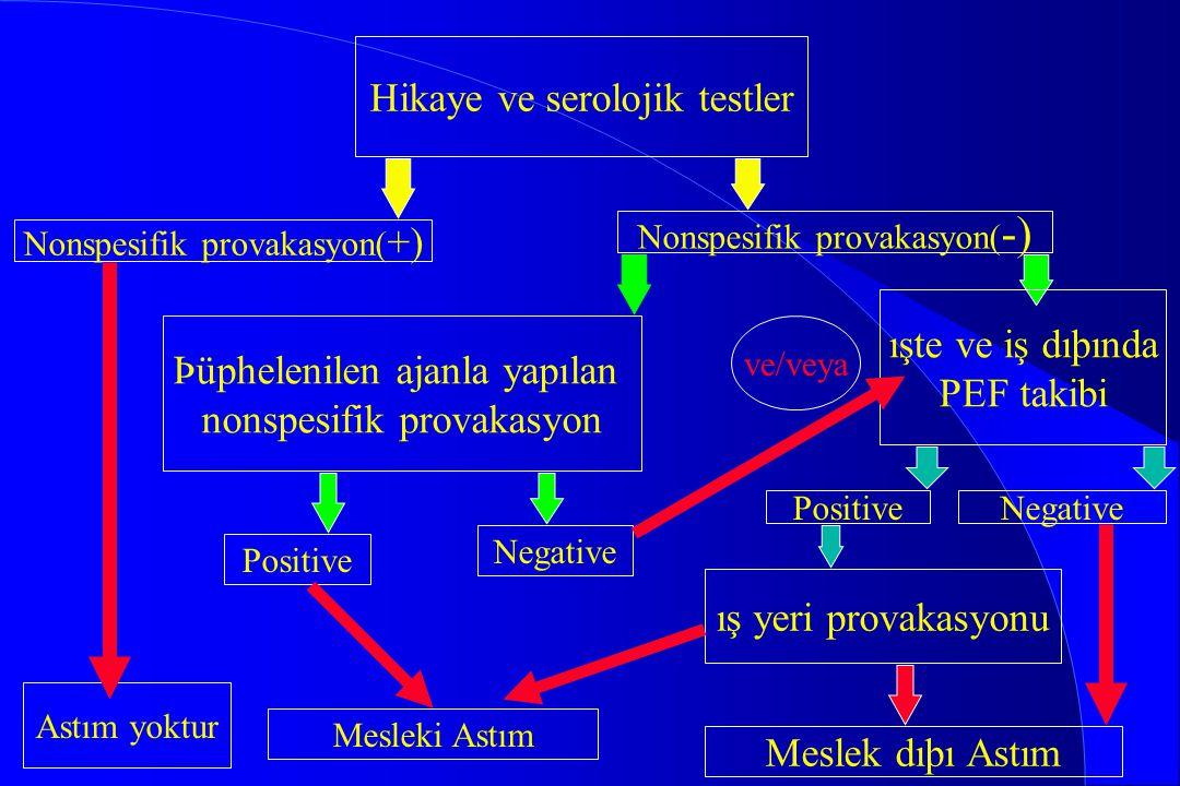 Hikaye ve serolojik testler Nonspesifik provakasyon( +) Nonspesifik provakasyon( -) Þüphelenilen ajanla yapılan nonspesifik provakasyon ışte ve iş dıþ