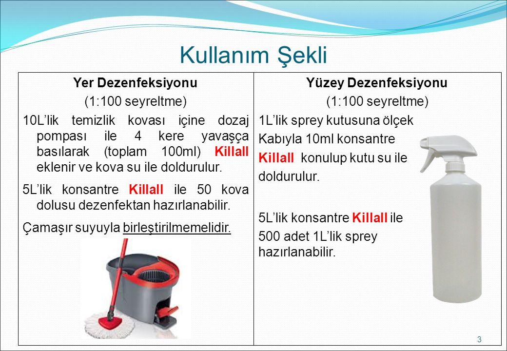 Kullanım Şekli 3 Yüzey Dezenfeksiyonu (1:100 seyreltme) 1L'lik sprey kutusuna ölçek Kabıyla 10ml konsantre Killall konulup kutu su ile doldurulur. 5L'