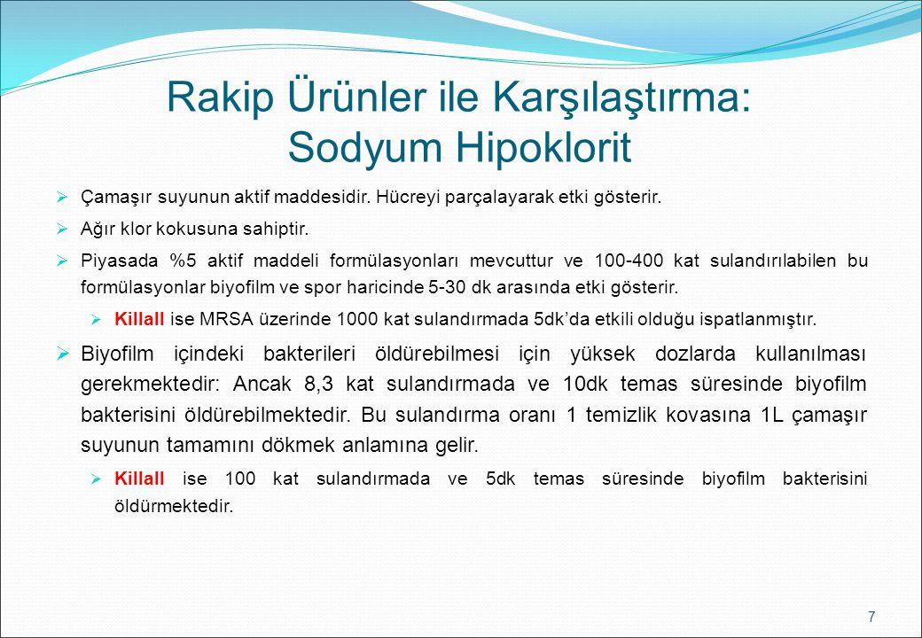 Rakip Ürünler ile Karşılaştırma: Sodyum Hipoklorit 7  Çamaşır suyunun aktif maddesidir. Hücreyi parçalayarak etki gösterir.  Ağır klor kokusuna sahi