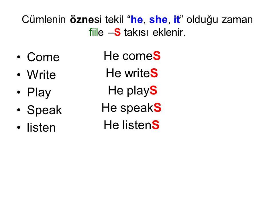 """Cümlenin öznesi tekil """"he, she, it"""" olduğu zaman fiile –S takısı eklenir. Come Write Play Speak listen He comeS He writeS He playS He speakS He listen"""