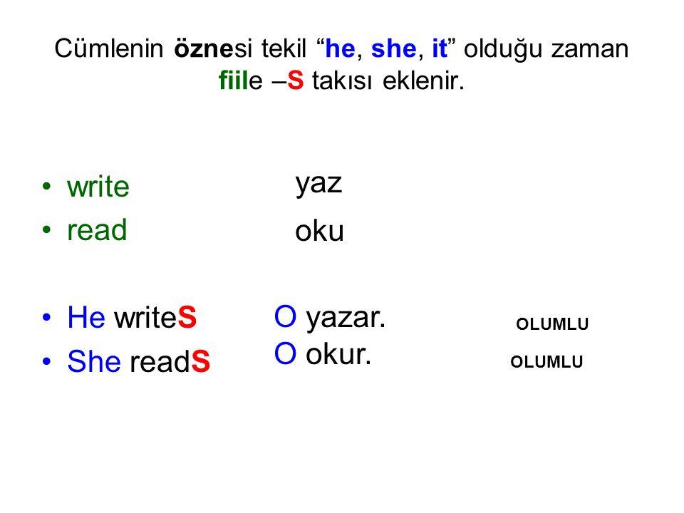 """Cümlenin öznesi tekil """"he, she, it"""" olduğu zaman fiile –S takısı eklenir. write read He writeS She readS yaz oku O yazar. O okur. OLUMLU OLUMLU"""