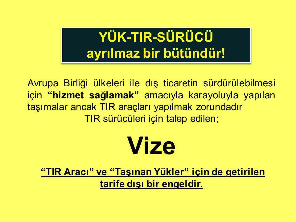 DIŞ TİCARETTE VİZE ENGELİ SCHENGEN HANDBOOK Türk TIR Sürücülerini Hizmet Sağlayıcı olarak tanımlamıştır.