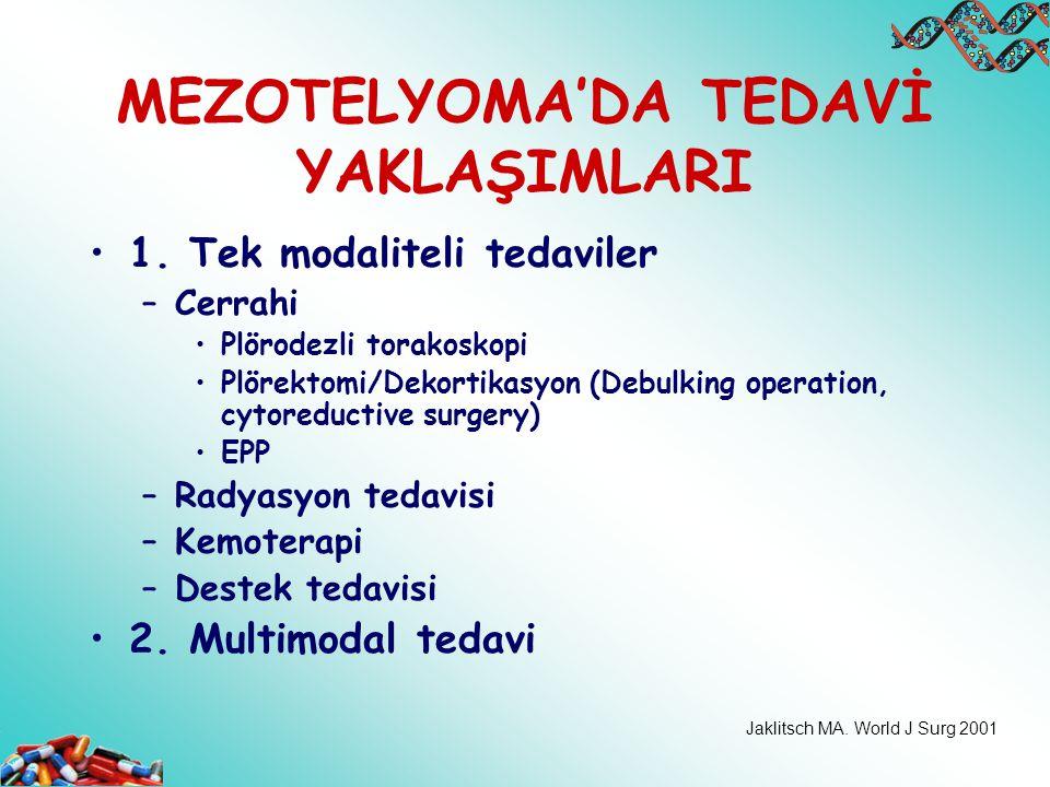 MEZOTELYOMA'DA TEDAVİ YAKLAŞIMLARI 1. Tek modaliteli tedaviler –Cerrahi Plörodezli torakoskopi Plörektomi/Dekortikasyon (Debulking operation, cytoredu