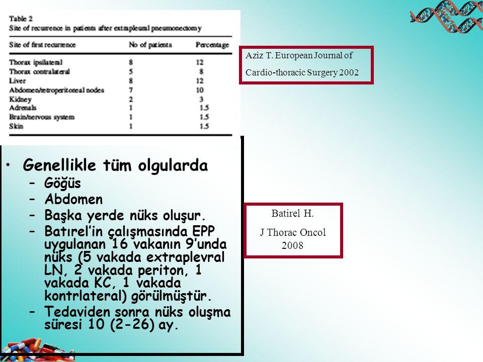 Genellikle tüm olgularda –Göğüs –Abdomen –Başka yerde nüks oluşur. –Batırel'in çalışmasında EPP uygulanan 16 vakanın 9'unda nüks (5 vakada extraplevra