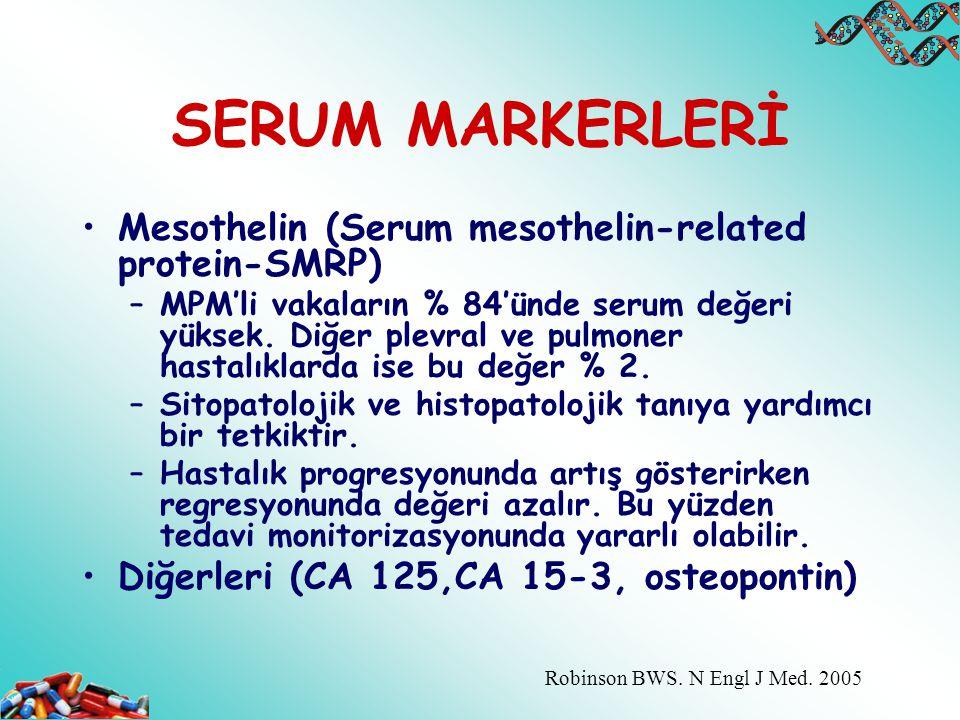 SERUM MARKERLERİ Mesothelin (Serum mesothelin-related protein-SMRP) –MPM'li vakaların % 84'ünde serum değeri yüksek. Diğer plevral ve pulmoner hastalı