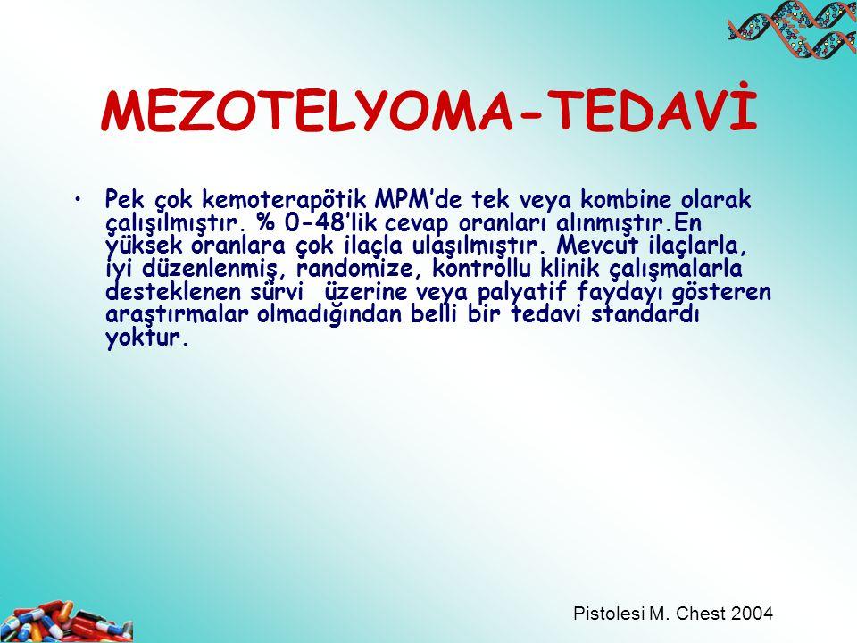 MEZOTELYOMA-TEDAVİ Pek çok kemoterapötik MPM'de tek veya kombine olarak çalışılmıştır. % 0-48'lik cevap oranları alınmıştır.En yüksek oranlara çok ila