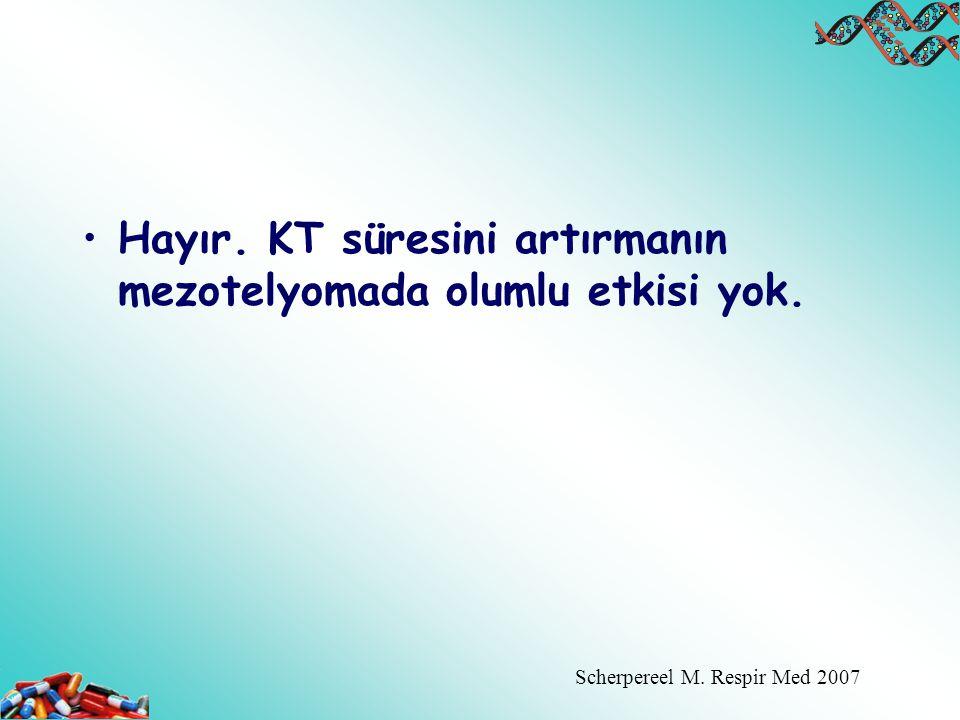 Hayır. KT süresini artırmanın mezotelyomada olumlu etkisi yok. Scherpereel M. Respir Med 2007