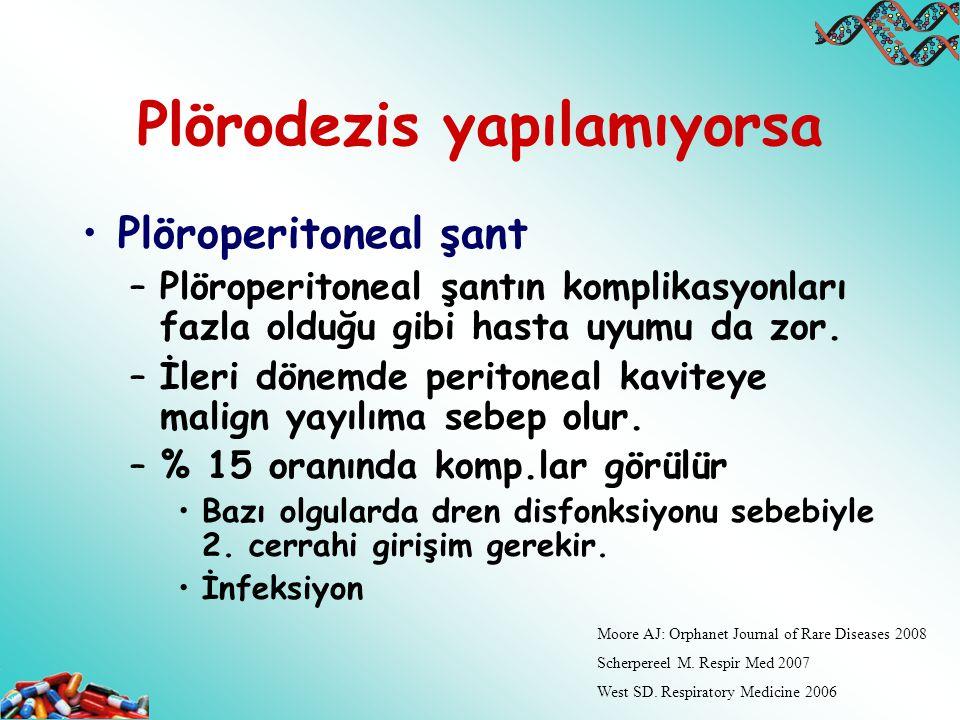Plörodezis yapılamıyorsa Plöroperitoneal şant –Plöroperitoneal şantın komplikasyonları fazla olduğu gibi hasta uyumu da zor. –İleri dönemde peritoneal