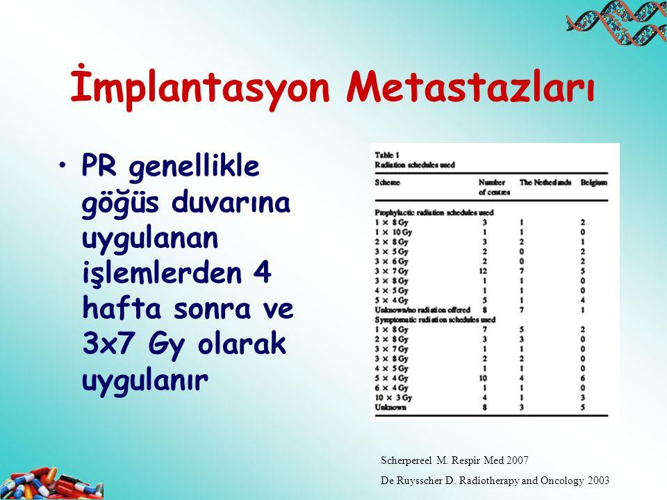İmplantasyon Metastazları PR genellikle göğüs duvarına uygulanan işlemlerden 4 hafta sonra ve 3x7 Gy olarak uygulanır Scherpereel M. Respir Med 2007 D
