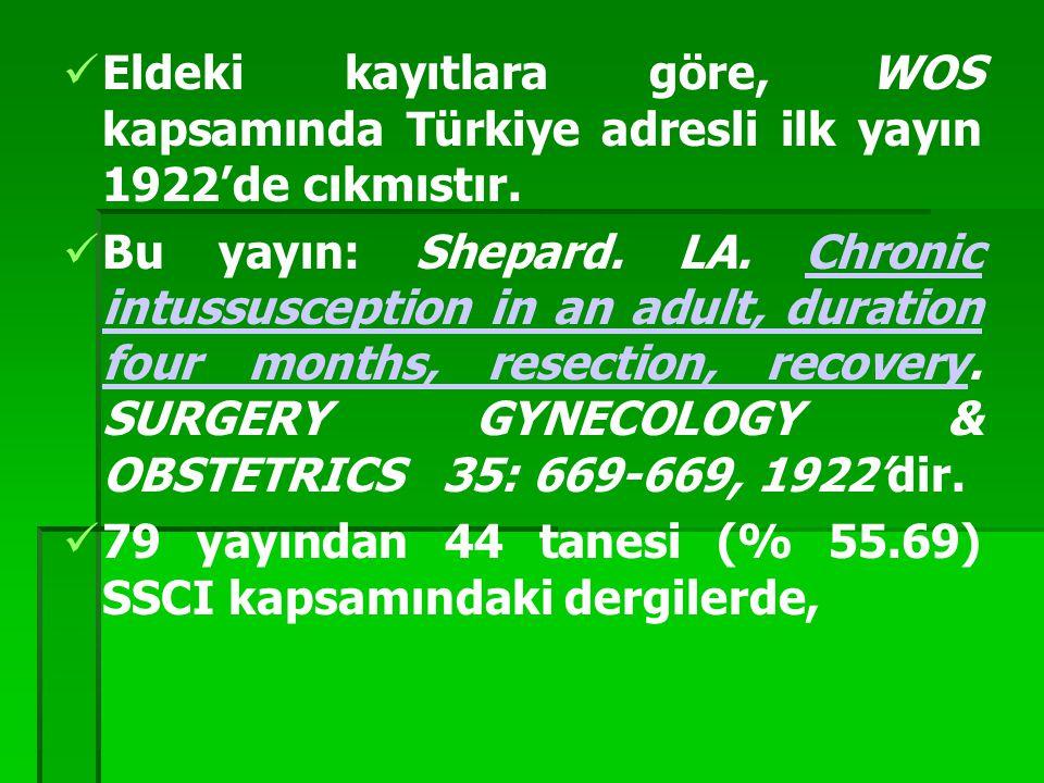 Eldeki kayıtlara göre, WOS kapsamında Türkiye adresli ilk yayın 1922'de cıkmıstır.