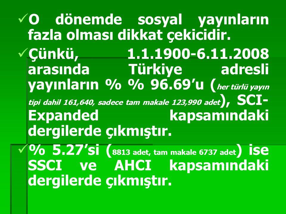 O dönemde sosyal yayınların fazla olması dikkat çekicidir. Çünkü, 1.1.1900-6.11.2008 arasında Türkiye adresli yayınların % % 96.69'u ( her türlü yayın