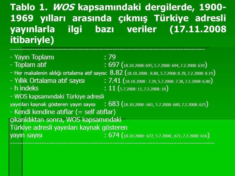 Tablo 1. WOS kapsamındaki dergilerde, 1900- 1969 yılları arasında çıkmış Türkiye adresli yayınlarla ilgi bazı veriler (17.11.2008 itibariyle) -------