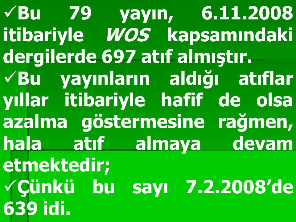 Bu 79 yayın, 6.11.2008 itibariyle WOS kapsamındaki dergilerde 697 atıf almıştır.
