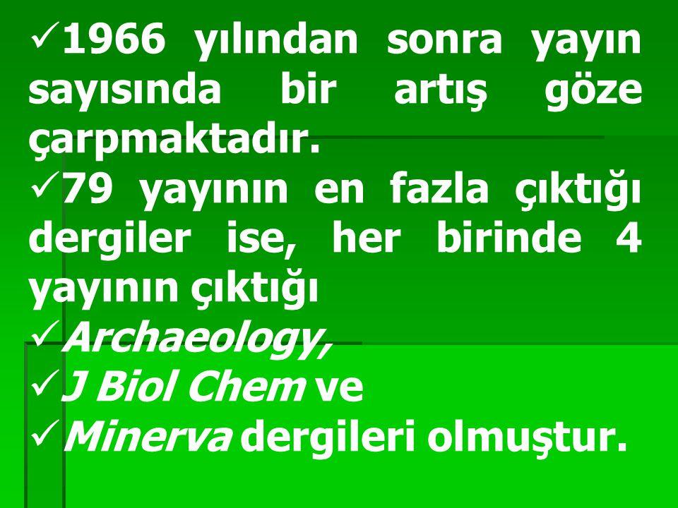 1966 yılından sonra yayın sayısında bir artış göze çarpmaktadır. 79 yayının en fazla çıktığı dergiler ise, her birinde 4 yayının çıktığı Archaeology,