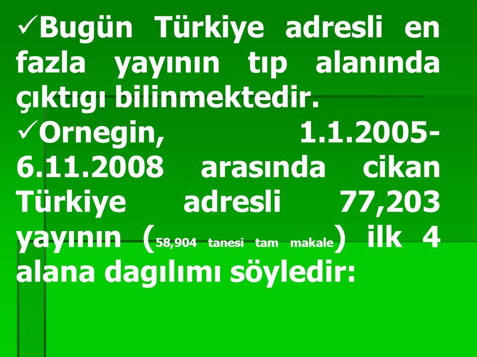 Bugün Türkiye adresli en fazla yayının tıp alanında çıktıgı bilinmektedir. Ornegin, 1.1.2005- 6.11.2008 arasında cikan Türkiye adresli 77,203 yayının