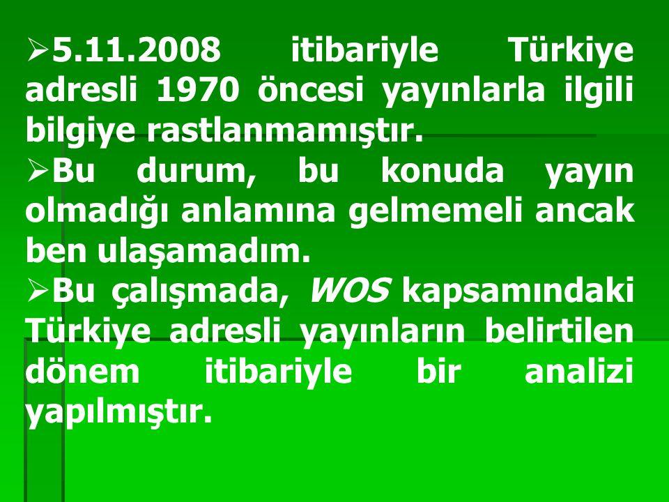  5.11.2008 itibariyle Türkiye adresli 1970 öncesi yayınlarla ilgili bilgiye rastlanmamıştır.  Bu durum, bu konuda yayın olmadığı anlamına gelmemeli