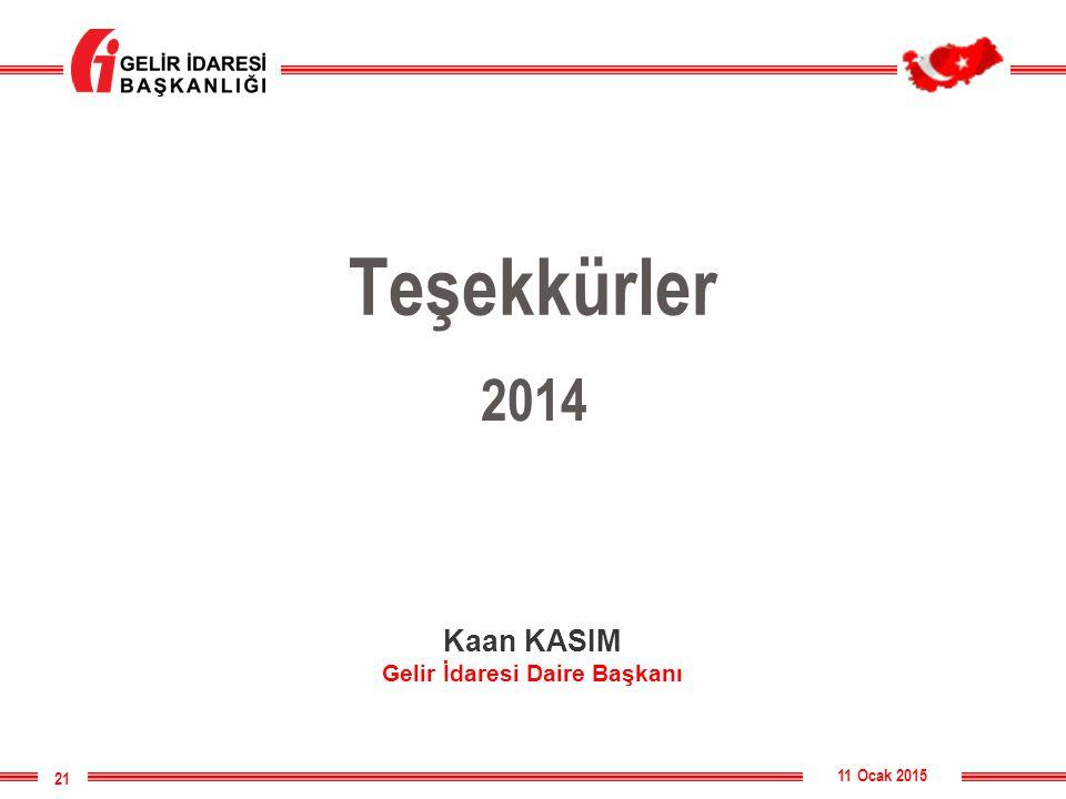 Teşekkürler 11 Ocak 2015 21 2014 Kaan KASIM Gelir İdaresi Daire Başkanı