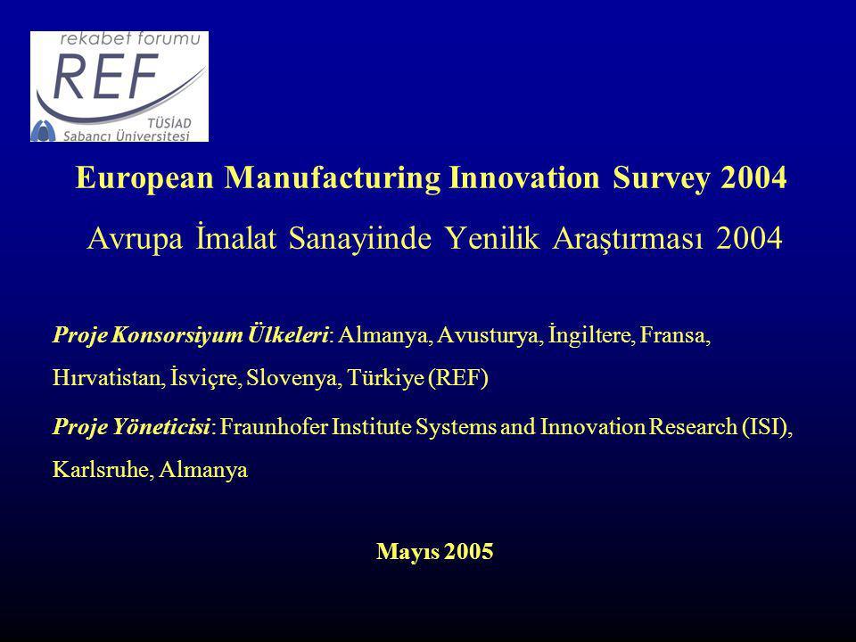 European Manufacturing Innovation Survey 2004 Avrupa İmalat Sanayiinde Yenilik Araştırması 2004 Proje Konsorsiyum Ülkeleri: Almanya, Avusturya, İngiltere, Fransa, Hırvatistan, İsviçre, Slovenya, Türkiye (REF) Proje Yöneticisi: Fraunhofer Institute Systems and Innovation Research (ISI), Karlsruhe, Almanya Mayıs 2005