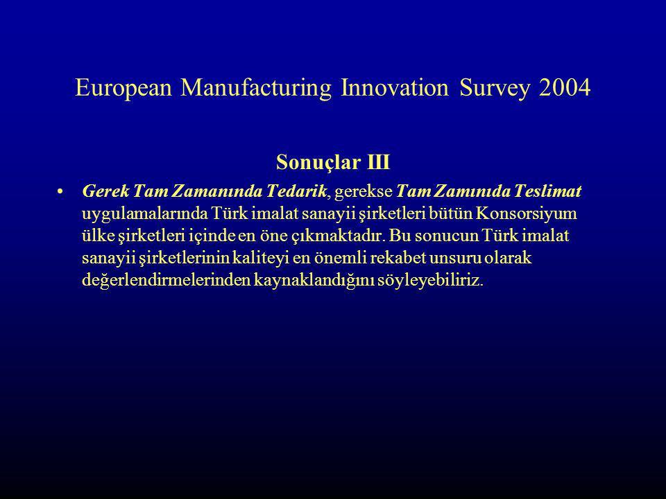 European Manufacturing Innovation Survey 2004 Sonuçlar III Gerek Tam Zamanında Tedarik, gerekse Tam Zamınıda Teslimat uygulamalarında Türk imalat sanayii şirketleri bütün Konsorsiyum ülke şirketleri içinde en öne çıkmaktadır.