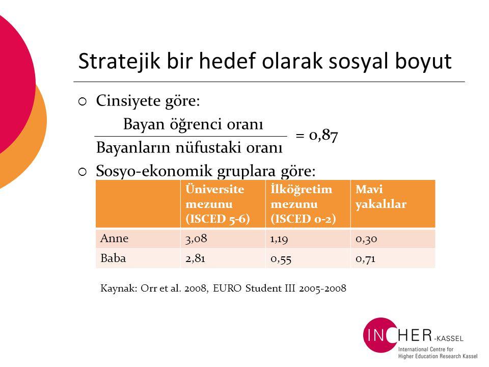 Stratejik bir hedef olarak sosyal boyut  Cinsiyete göre: Bayan öğrenci oranı Bayanların nüfustaki oranı  Sosyo-ekonomik gruplara göre: Üniversite mezunu (ISCED 5-6) İlköğretim mezunu (ISCED 0-2) Mavi yakalılar Anne3,081,190,30 Baba2,810,550,71 Kaynak: Orr et al.
