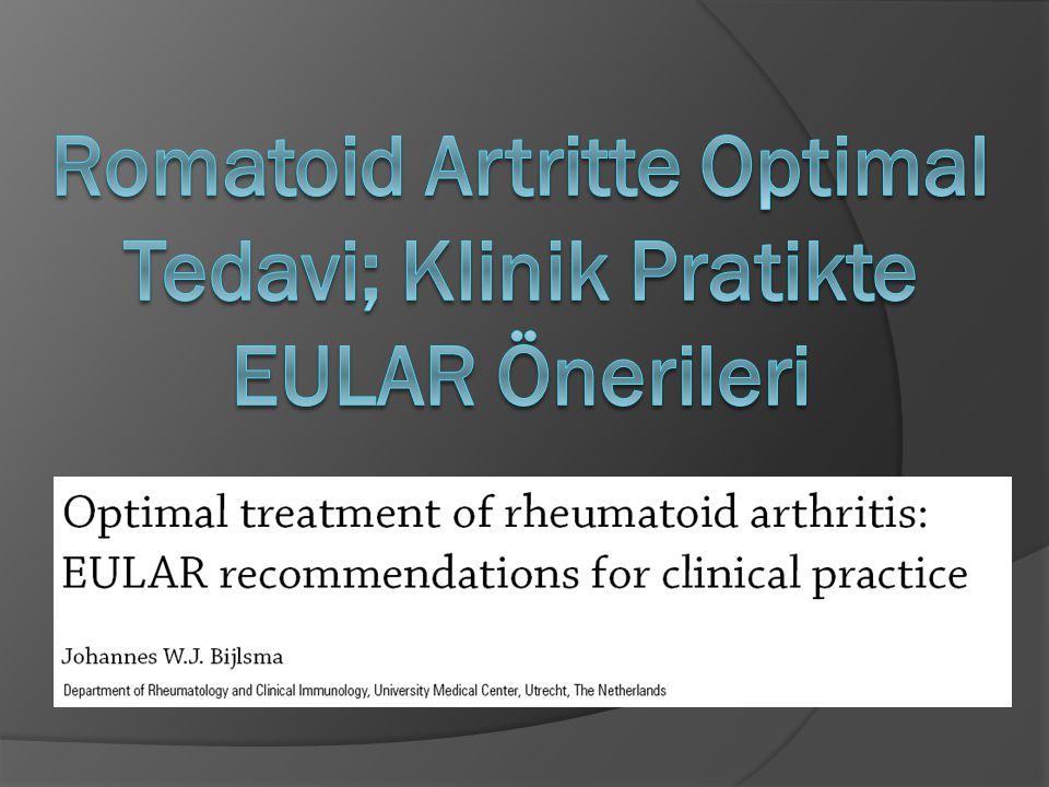 Romatoid Artrit (RA) tedavisinde son 20 yılda hızlı bir ilerleme elde edilmiştir ve günümüzde üç temel konsept üzerinde değerlendirme yapılmaktadır; 1.
