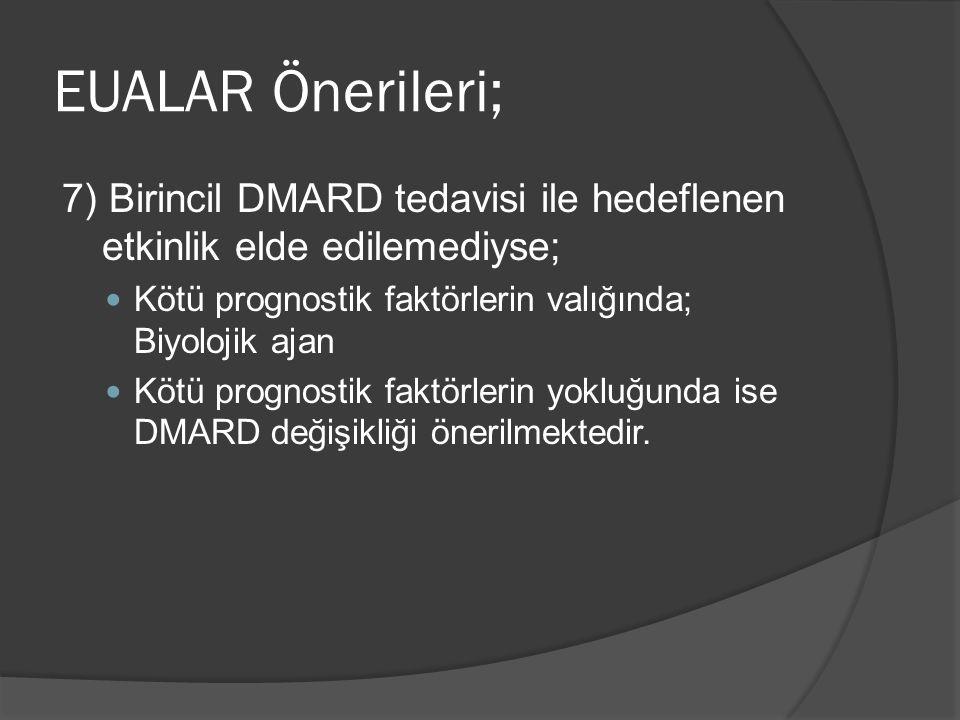 7) Birincil DMARD tedavisi ile hedeflenen etkinlik elde edilemediyse; Kötü prognostik faktörlerin valığında; Biyolojik ajan Kötü prognostik faktörlerin yokluğunda ise DMARD değişikliği önerilmektedir.