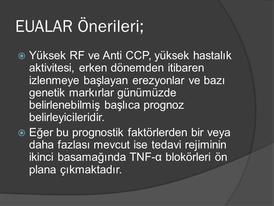  Yüksek RF ve Anti CCP, yüksek hastalık aktivitesi, erken dönemden itibaren izlenmeye başlayan erezyonlar ve bazı genetik markırlar günümüzde belirlenebilmiş başlıca prognoz belirleyicileridir.