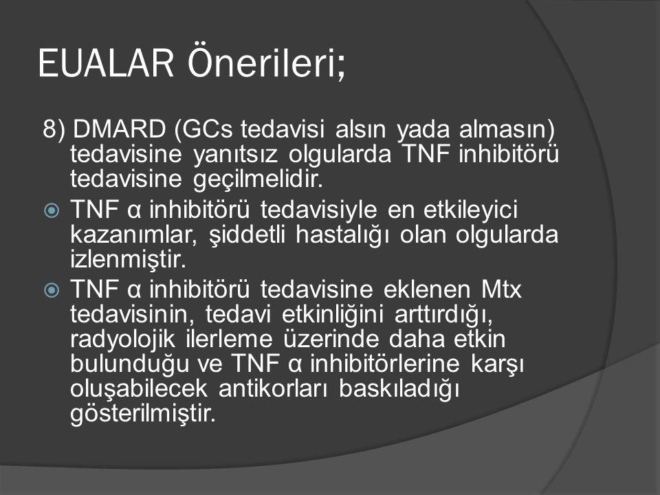 8) DMARD (GCs tedavisi alsın yada almasın) tedavisine yanıtsız olgularda TNF inhibitörü tedavisine geçilmelidir.