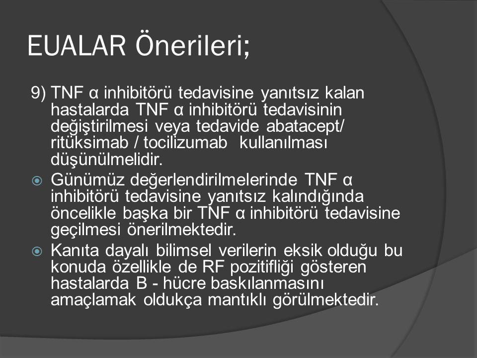 9) TNF α inhibitörü tedavisine yanıtsız kalan hastalarda TNF α inhibitörü tedavisinin değiştirilmesi veya tedavide abatacept/ ritüksimab / tocilizumab kullanılması düşünülmelidir.
