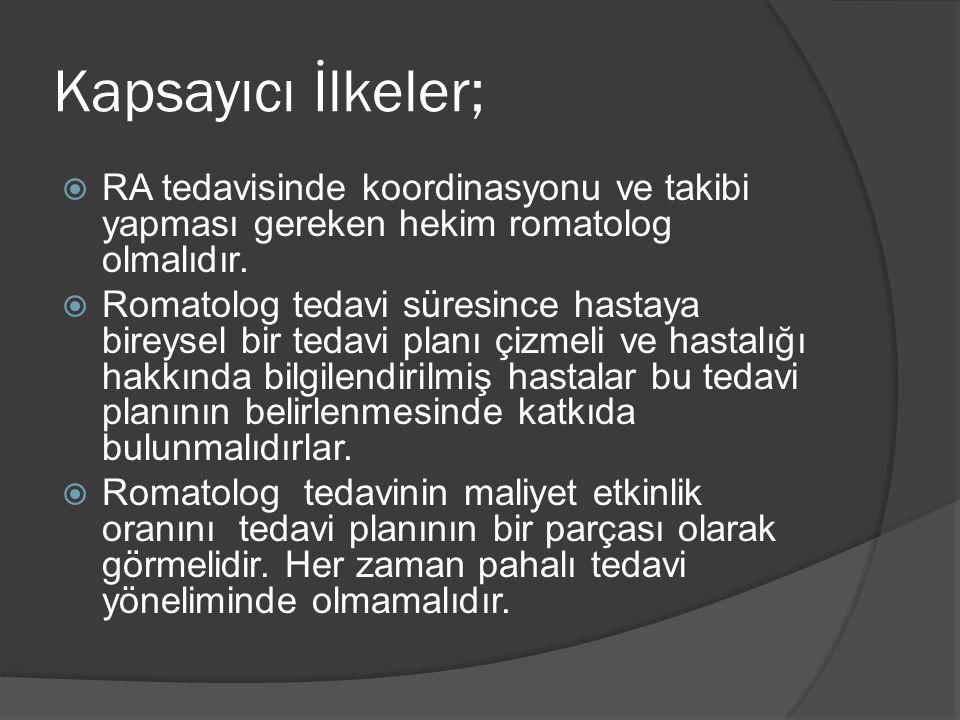Kapsayıcı İlkeler;  RA tedavisinde koordinasyonu ve takibi yapması gereken hekim romatolog olmalıdır.
