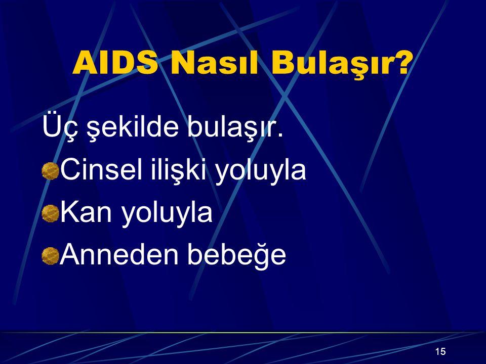 14 AIDS Tedavisi? AIDS'in kesin tedavisi yoktur, bugün için ilaç kullanımı ile yalnızca hastalık belirtilerinin ortaya çıkışı geçiktirilmektedir.ilerl