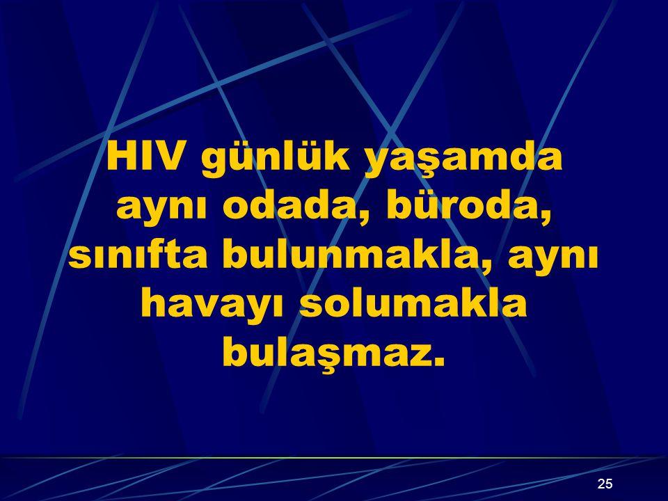 24 AIDS'in bulaşmadığı durumlar Aile yaşantısı, toplumsal yaşam El sıkışma, kuçaklaşma, cilt temasları Sosyal öpüşme Yemek ve içki, tabak-kaşık-bardak
