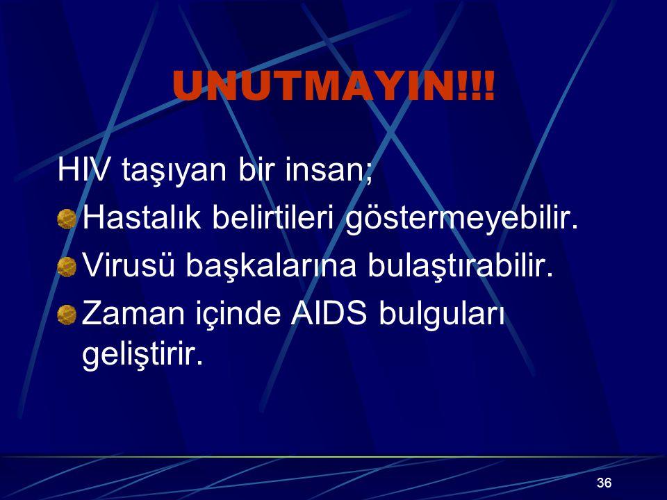 35 Anneden bebeğe geçişi önlemek için; Riskli davranışlarınız söz konusu ise gebe kalmadan önce test yaptırıp, HIV(-) olduğunuza emin olun