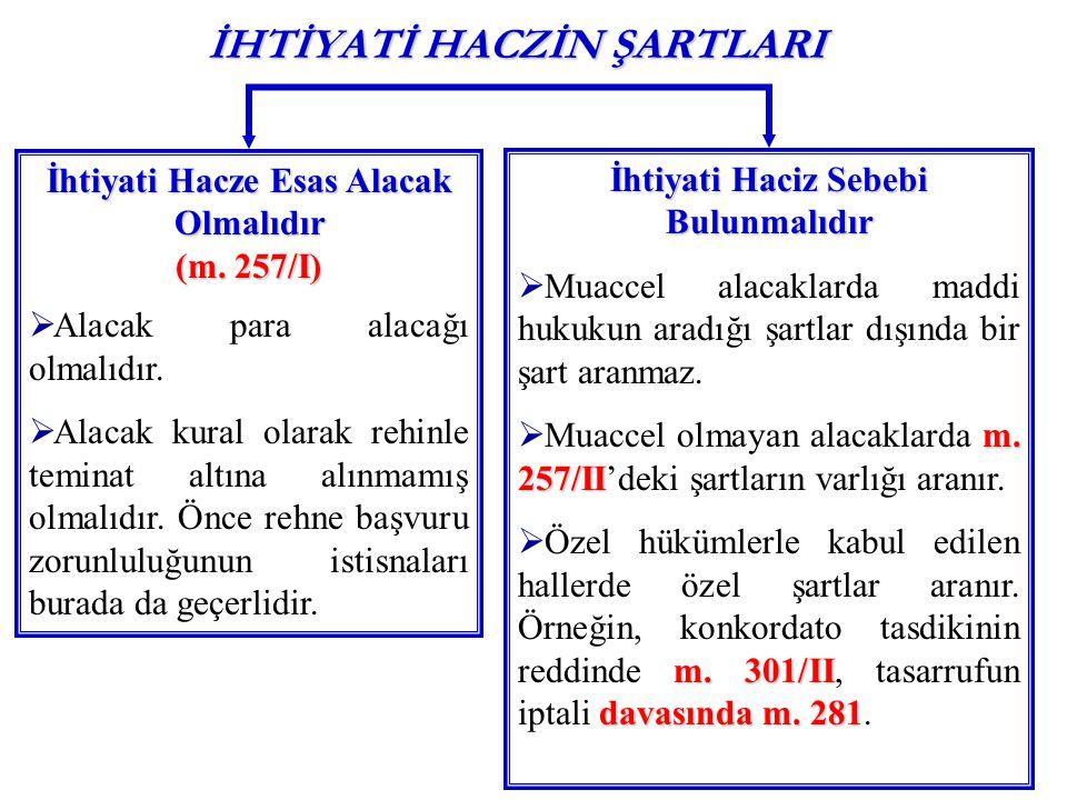 İHTİYATİ HACZİN ŞARTLARI İhtiyati Hacze Esas Alacak Olmalıdır (m. 257/I)  Alacak para alacağı olmalıdır.  Alacak kural olarak rehinle teminat altına