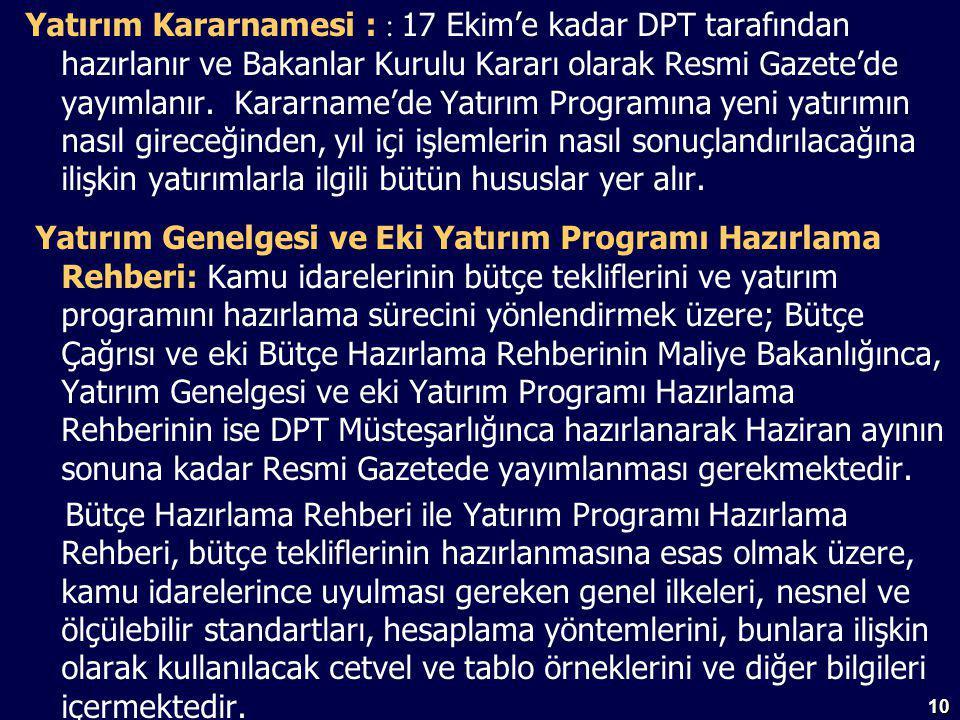10 Yatırım Kararnamesi : : 17 Ekim'e kadar DPT tarafından hazırlanır ve Bakanlar Kurulu Kararı olarak Resmi Gazete'de yayımlanır.