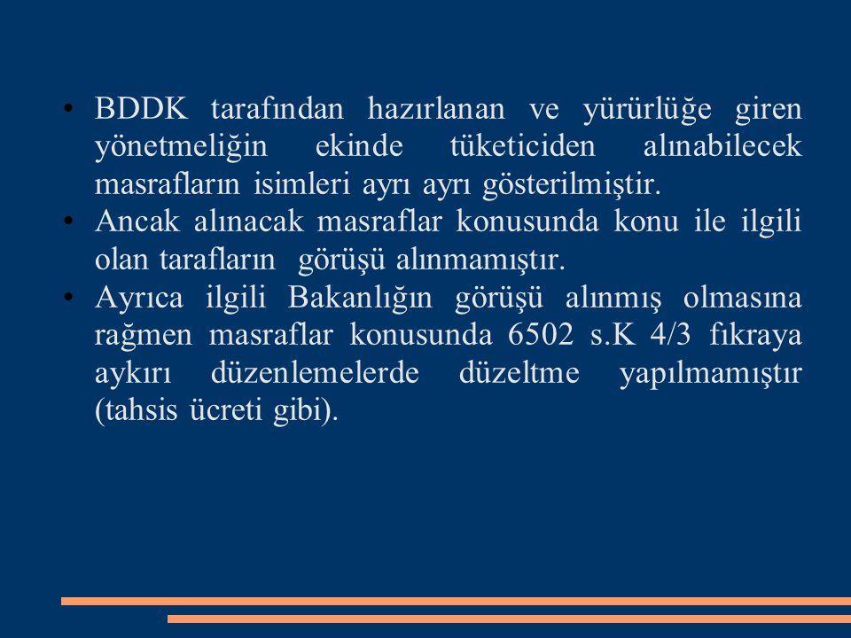 BDDK tarafından hazırlanan ve yürürlüğe giren yönetmeliğin ekinde tüketiciden alınabilecek masrafların isimleri ayrı ayrı gösterilmiştir. Ancak alınac