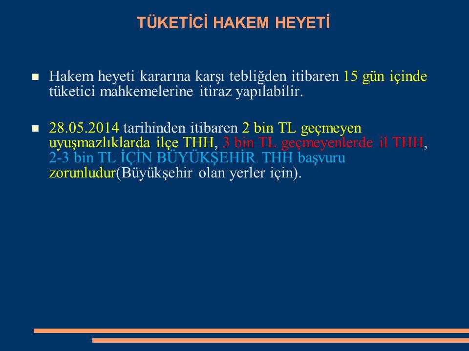 TÜKETİCİ HAKEM HEYETİ Hakem heyeti kararına karşı tebliğden itibaren 15 gün içinde tüketici mahkemelerine itiraz yapılabilir. 28.05.2014 tarihinden it