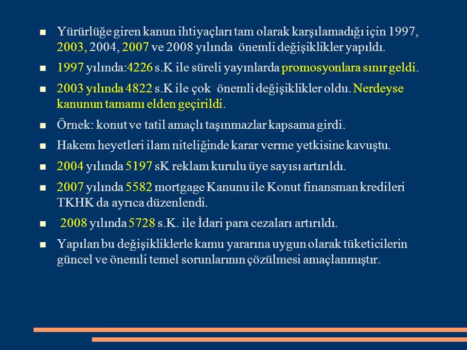 Yürürlüğe giren kanun ihtiyaçları tam olarak karşılamadığı için 1997, 2003, 2004, 2007 ve 2008 yılında önemli değişiklikler yapıldı. 1997 yılında:4226