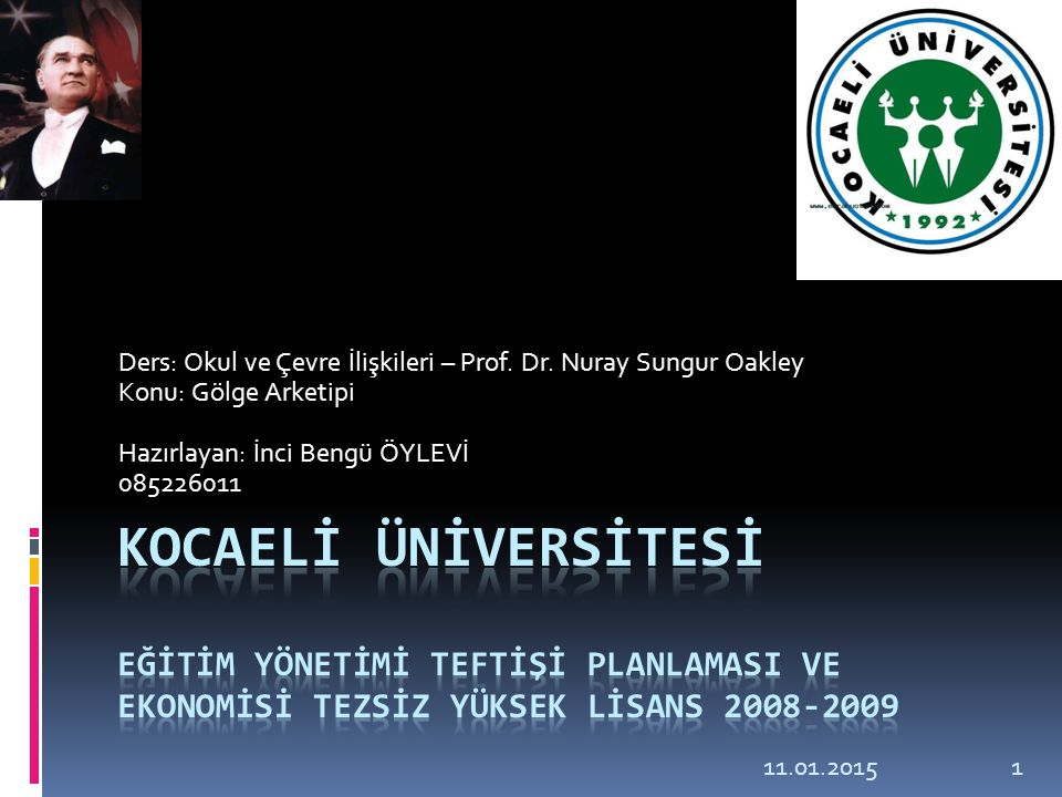 Ders: Okul ve Çevre İlişkileri – Prof. Dr. Nuray Sungur Oakley Konu: Gölge Arketipi Hazırlayan: İnci Bengü ÖYLEVİ 085226011 11.01.20151