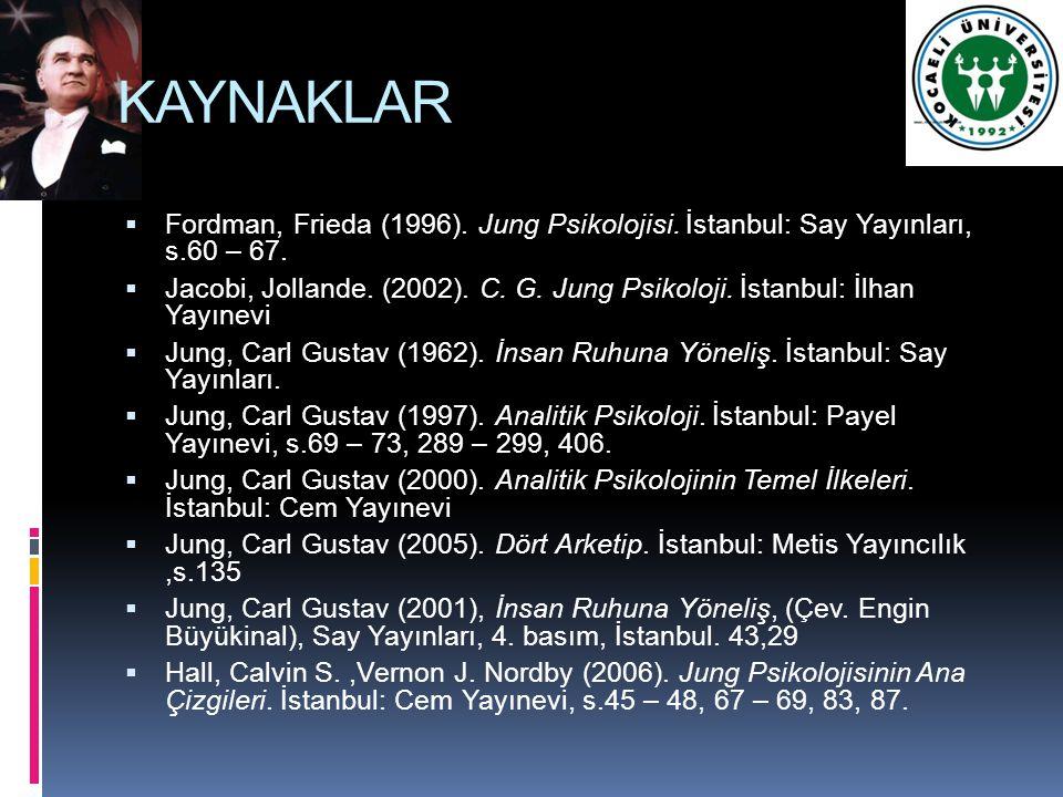 KAYNAKLAR  Fordman, Frieda (1996). Jung Psikolojisi. İstanbul: Say Yayınları, s.60 – 67.  Jacobi, Jollande. (2002). C. G. Jung Psikoloji. İstanbul: