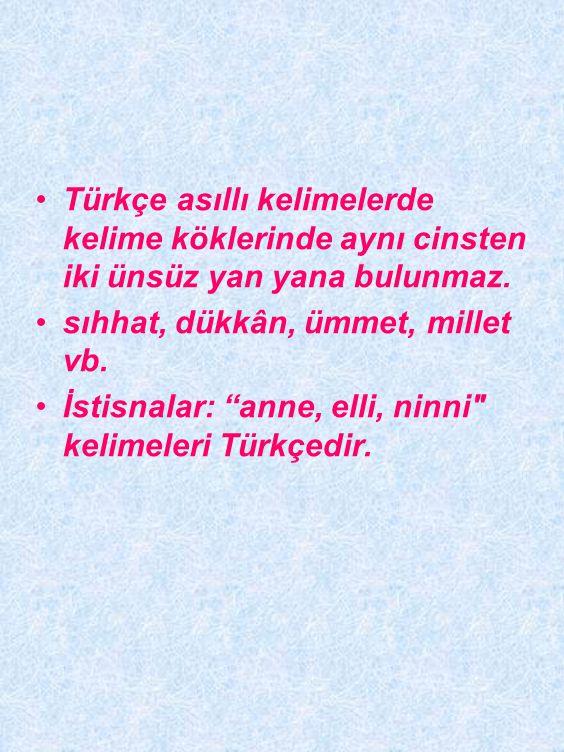 Türkçe kelimelerin sonunda