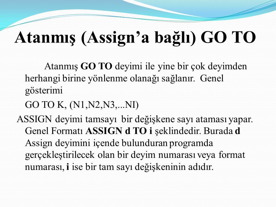 Atanmış (Assign'a bağlı) GO TO Atanmış GO TO deyimi ile yine bir çok deyimden herhangi birine yönlenme olanağı sağlanır. Genel gösterimi GO TO K, (N1,