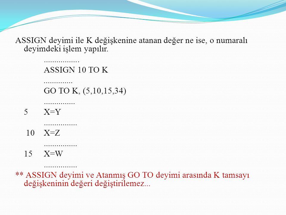 ASSIGN deyimi ile K değişkenine atanan değer ne ise, o numaralı deyimdeki işlem yapılır.................. ASSIGN 10 TO K.............. GO TO K, (5,10,