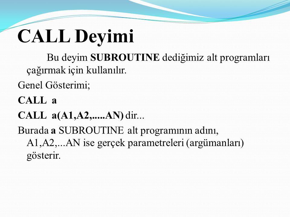 CALL Deyimi Bu deyim SUBROUTINE dediğimiz alt programları çağırmak için kullanılır. Genel Gösterimi; CALL a CALL a(A1,A2,.....AN) dir... Burada a SUBR